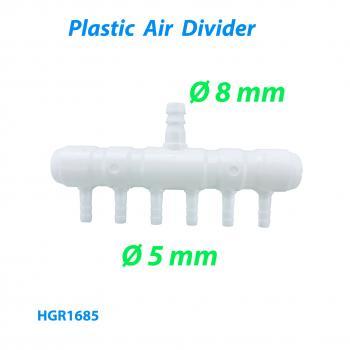 Распределитель воздуха (гребёнка) для компрессора на 6 выходов диаметром 5 мм и входом d7 мм
