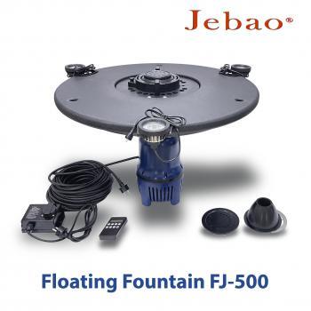 Плавающий фонтан и фонтан-аэратор для пруда Jebao FJ-500 с насосом, 3-мя фонтанными насадками, светильниками и пультом управления