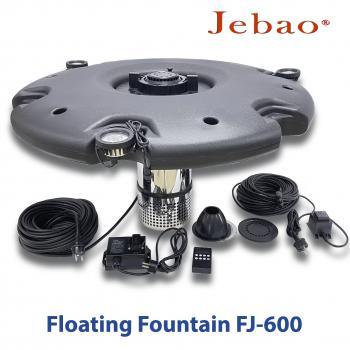 Плавающий фонтан-аэратор для пруда Jebao FJ-600 с насосом, 3-мя фонтанными насадками, светильниками и пультом управления